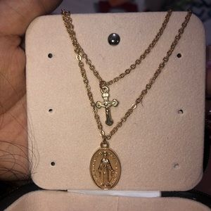 2 layered gold cross and mary necklace